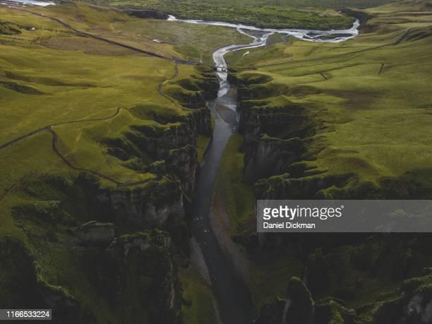 scenic iceland landscape aerial drone photo of fjaðrárgljúfur canyon - 峡谷 ストックフォトと画像