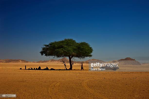 Scenic images of a Tuareg family picnicking in the desert on a Friday the Muslim holy day April 3 2009 in Djanet Algeria