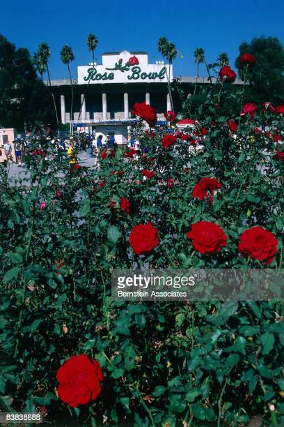Scenic images of the Rose Bowl prior to the start of the game between the Michigan Wolverines and the Arizona State Sun Devils on January 1 1987 at...