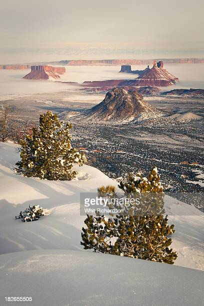 A scenic landscape image of desert scenery in winter.