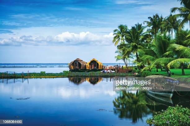 scenic landscape with kumarakom lake resort, kerala, india - kerala stock pictures, royalty-free photos & images