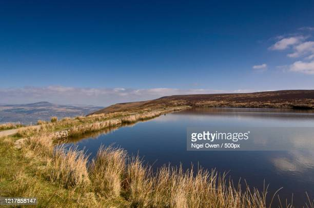 scenic landscape with lakeshore, wales, uk - nigel owen stock pictures, royalty-free photos & images