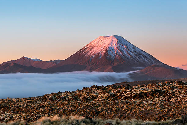 Scenic Landscape With Ngauruhoe Volcano At Sunset Wall Art