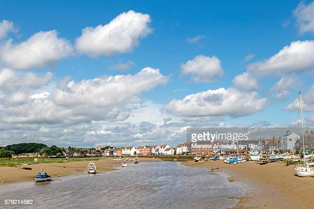 Scenic maritime mood at Wivenhoe's waterfront on River Colne, south east of Colchester, Essex, England, United Kingdom.