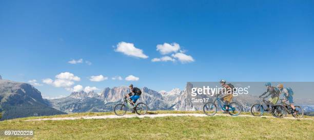 Scenic mountainbiking in the Dolomites, Italy