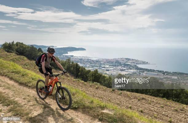 Scenic mountainbiking overlooking Izola, Slovenia.