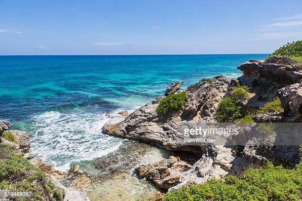 scenic ocean view on isla mujeres. - isla mujeres stock photos and pictures
