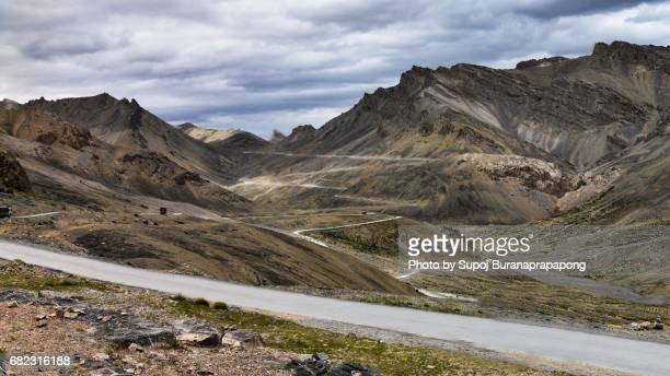 Scenic of Long road zigzag and curve highway from jispa to leh dakh , india