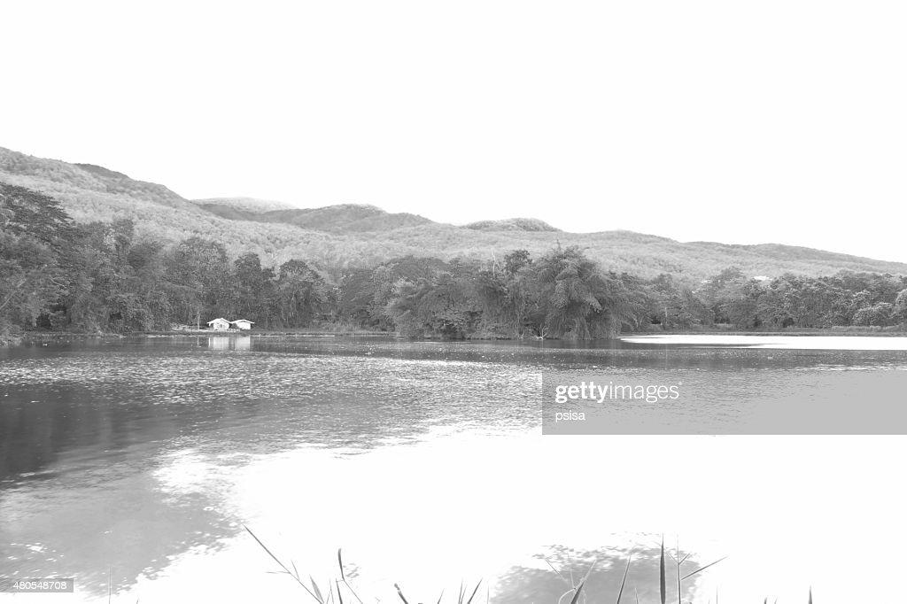 Paisagem da montanha e o lago, preto e branco : Foto de stock