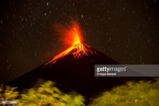 Scenic of volcano erupting during the first round of the PGA TOUR Latinoamérica Guatemala Stella Artois Open at La Reunion Golf Resort Fuego Maya on...