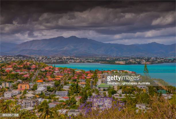 a scenic overview of the bay de magenta, noumea, new caledonia, south pacific. - new caledonia stock photos and pictures