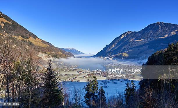 Scenic Panorama View of the Lungernsee in the Swiss Bernese Alps