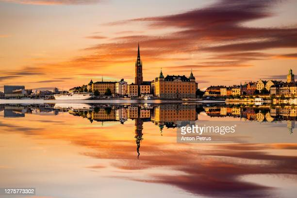scenic panoramic view of gamla stan, in the old town in stockholm at sunset, sweden - old town stock pictures, royalty-free photos & images