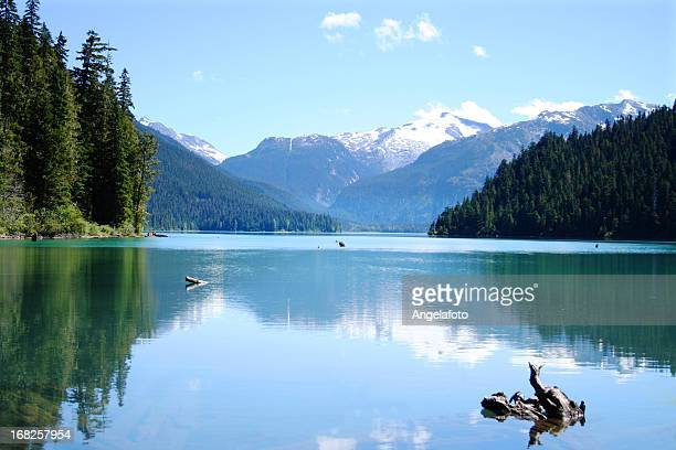 scenic photo of the calm cheakamus lake - garibaldi park stock pictures, royalty-free photos & images