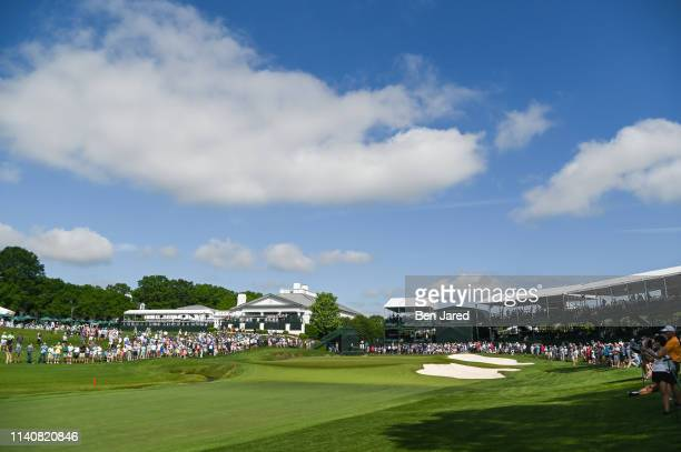 Scenic photo of the eighteenth green during the first round of the Wells Fargo Championship at Quail Hollow Club on May 2, 2019 in Charlotte, North...