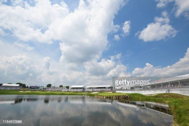 Scenic photo of the eighteenth hole during the final round of the 3M Open at TPC Twin Cities on July 7 2019 in Blaine Minnesota