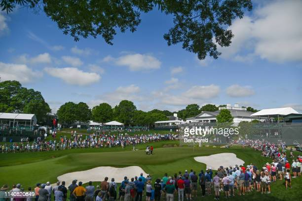 Scenic photo of the eighteenth hole during the first round of the Wells Fargo Championship at Quail Hollow Club on May 2, 2019 in Charlotte, North...