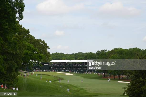 Scenic photo of the eighteenth hole during the second round of the Wells Fargo Championship at Quail Hollow Club on May 3, 2019 in Charlotte, North...
