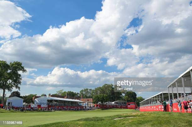 Scenic photo of the eighteenth hole during the third round of the Rocket Mortgage Classic at Detroit Golf Club on June 29, 2019 in Detroit, Michigan.