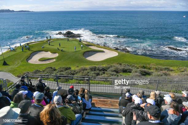 Scenic photo of the seventh hole during the third round of the ATT Pebble Beach ProAm at Pebble Beach Golf Links on February 9 2019 in Pebble Beach...