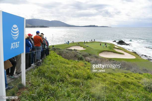 Scenic photo of the seventh hole green during the third round of the ATT Pebble Beach ProAm at Pebble Beach Golf Links on February 9 2019 in Pebble...