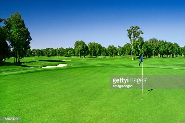 scenic photograph of a golf course - green golf course stock pictures, royalty-free photos & images