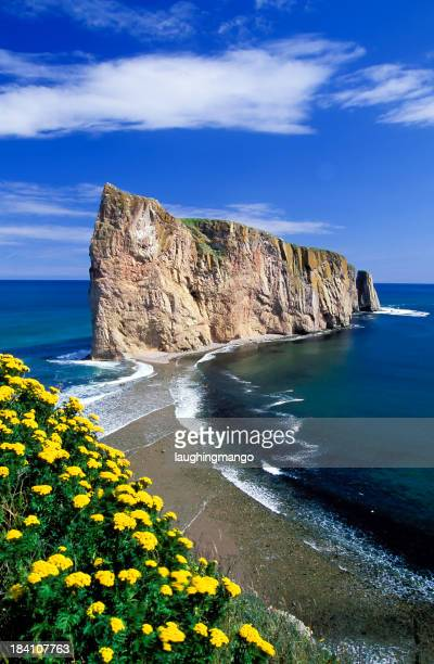 Scenic portrait of the Gaspe Peninsula Perce Rock in Quebec