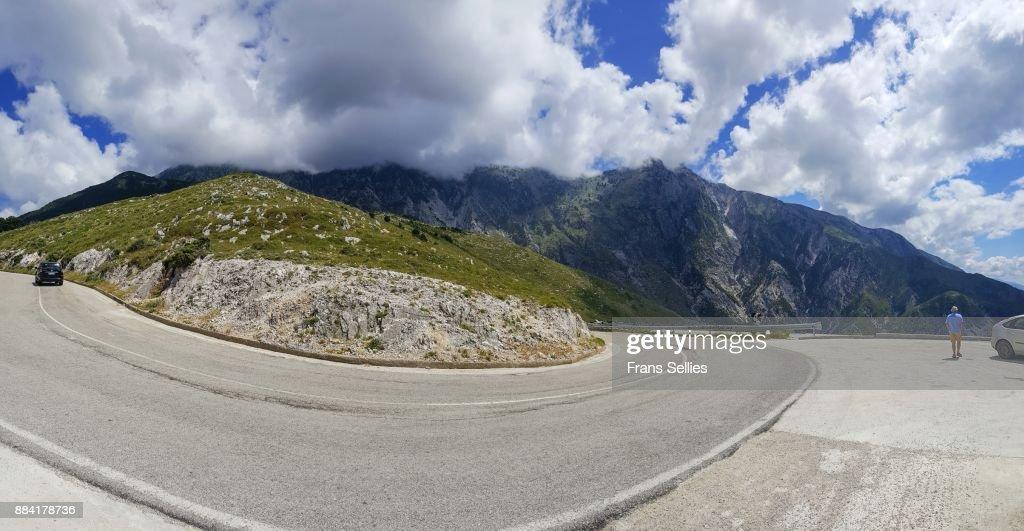 Scenic road at the Llogara pass, along the Albanian rivièra, Albania : Stockfoto