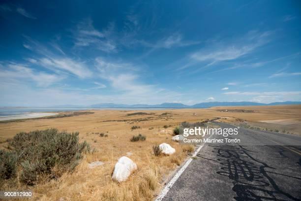 Scenic road. Great Salt lake, Salt Lake City. Utah
