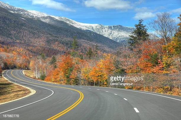 scenic road in new hampshire - thruway stock pictures, royalty-free photos & images
