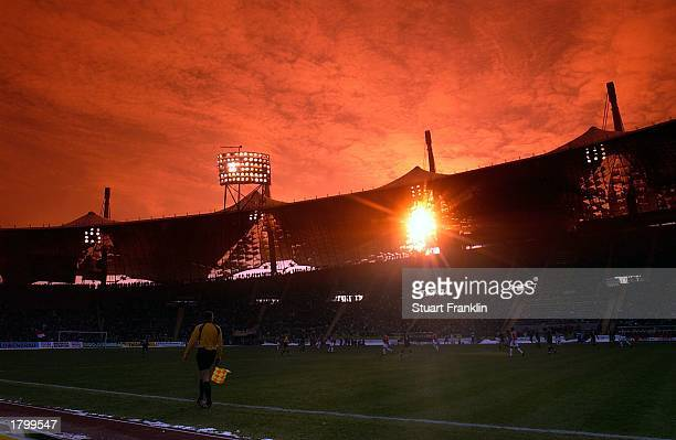 A scenic shot of action at the Olympic Stadium during the Bundesliga match between 1860 Munich and FC Bayern Munich at The Olympic Stadium Munich...