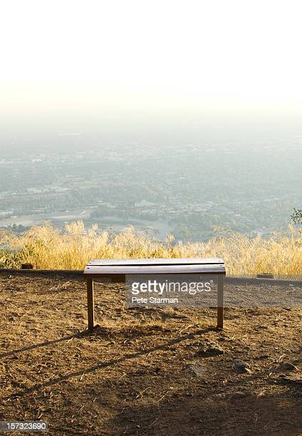 Scenic sitting bench overlooking a valley