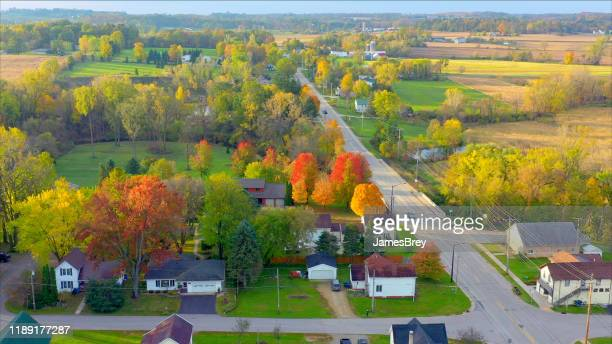 scenic small town nestled amid fertile valley in beautiful rural wisconsin - town_(wisconsin) stock pictures, royalty-free photos & images
