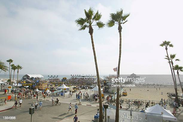 A scenic southwest view from above of the main court at the AVP Michelob Light Manhattan Beach Open on August 10 2002 in Manhattan Beach California...