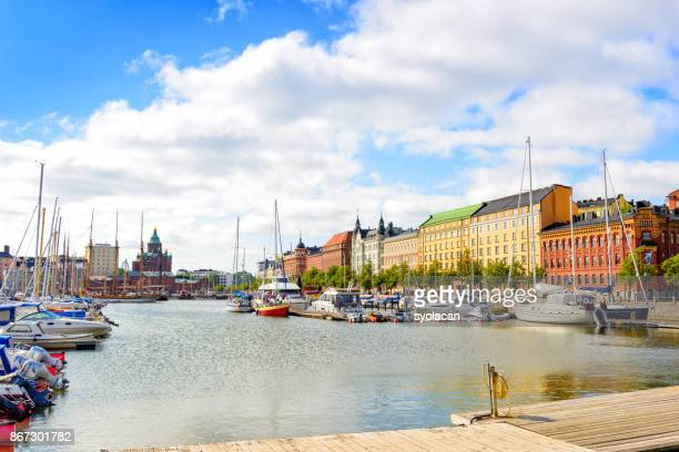 scenic summer panorama of the old port pier in helsinki - syolacan stock pictures, royalty-free photos & images