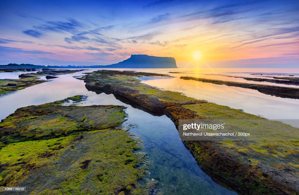 Scenic sunset over seascape : Stock Photo