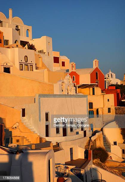 scenic sunset view in oia, santorini - dietmar temps stock photos and pictures