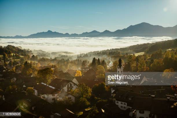 scenic, tranquil view bad kohlgrub, bayern, germany - bayern stock pictures, royalty-free photos & images