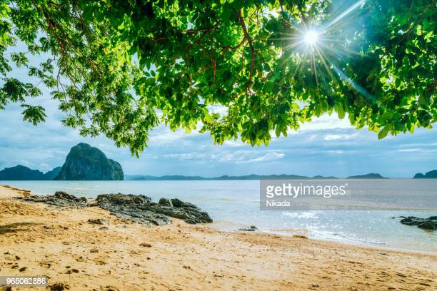 scenic tropical beach, el nido palawan philippines - palawan island stock pictures, royalty-free photos & images