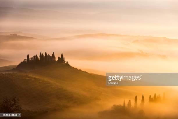 scenic tuscany landscape at sunrise, val d'orcia, italy - toscana foto e immagini stock