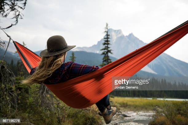 scenic view from a hammock - red hat stock pictures, royalty-free photos & images