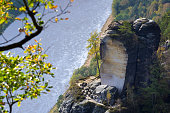 Scenic view from Bastei lookout with sandstone pillars and Elbe river, taken in late October,  Saxon Switzerland National Park, Saxony, Germany, Europe.