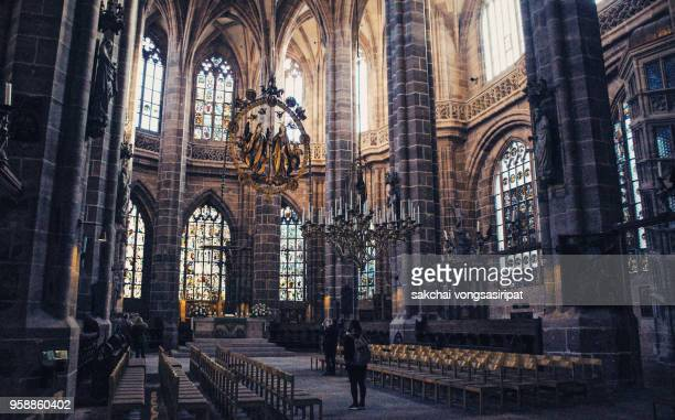 Scenic View Indoor at Interior of St Lorenz Church in Nuremberg City, Bavaria, Germany