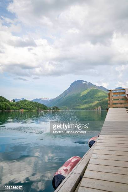 scenic view of a calm lake in halsa, norway - skinny dipping stock pictures, royalty-free photos & images