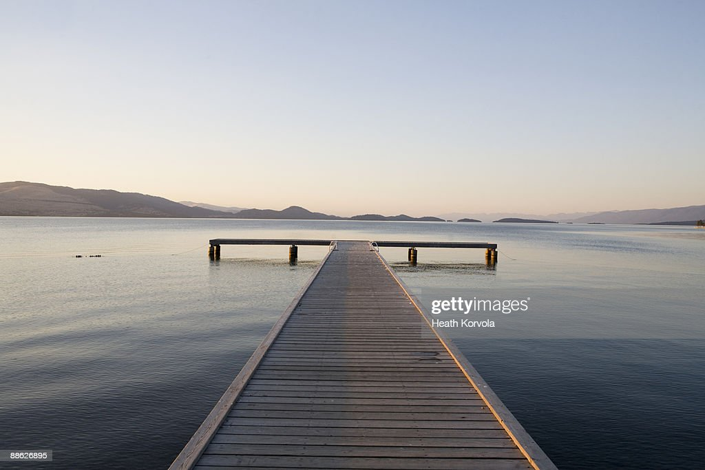 Scenic view of a dock with sunset approaching. : Stock Photo