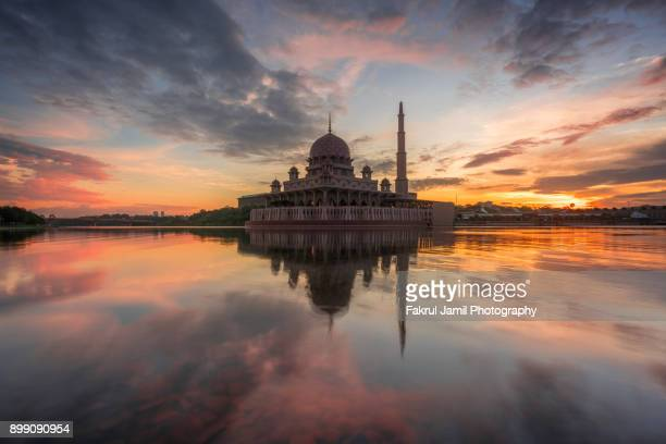 Scenic view of a floating mosque in Putrajaya, Malaysia