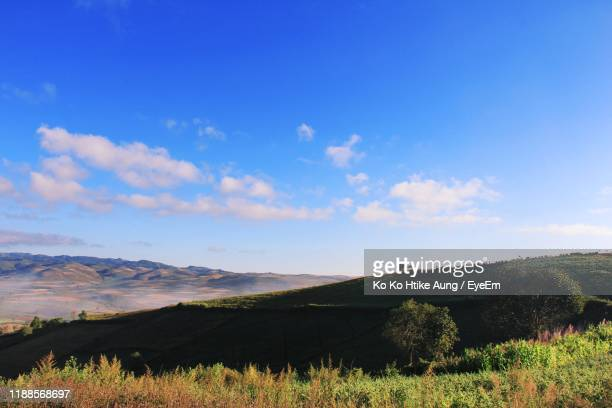 scenic view of agricultural field against blue sky - ko ko htike aung stock pictures, royalty-free photos & images