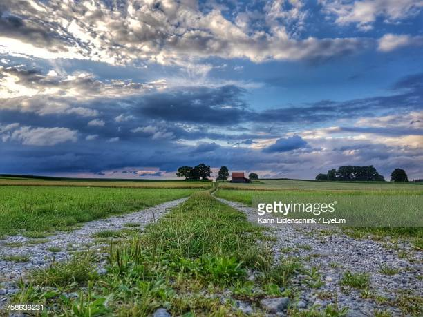 scenic view of agricultural field against sky - karin eidenschink stock-fotos und bilder