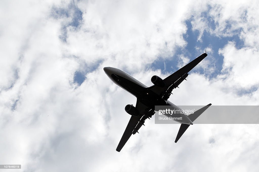 A scenic view of aircraft flying overhead photographed on November 29, 2010 in Raleigh, North Carolina.