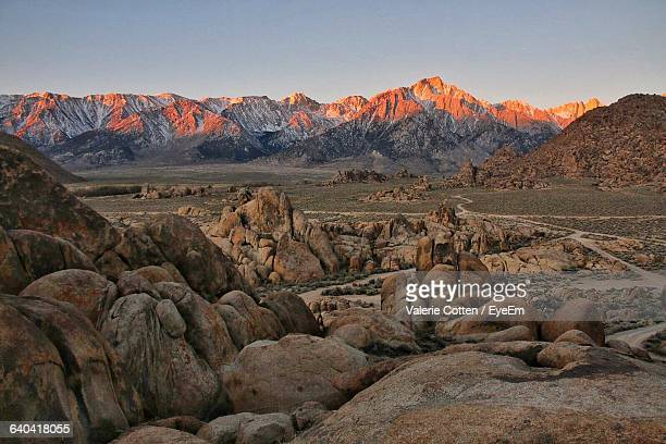 scenic view of alabama hills against clear sky - central california stock pictures, royalty-free photos & images
